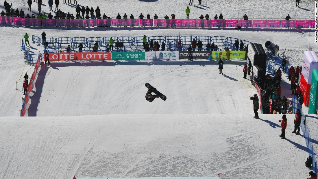 Mark McMorris flips through the air during qualification for the FIS Snowboard World Cup Big Air event.