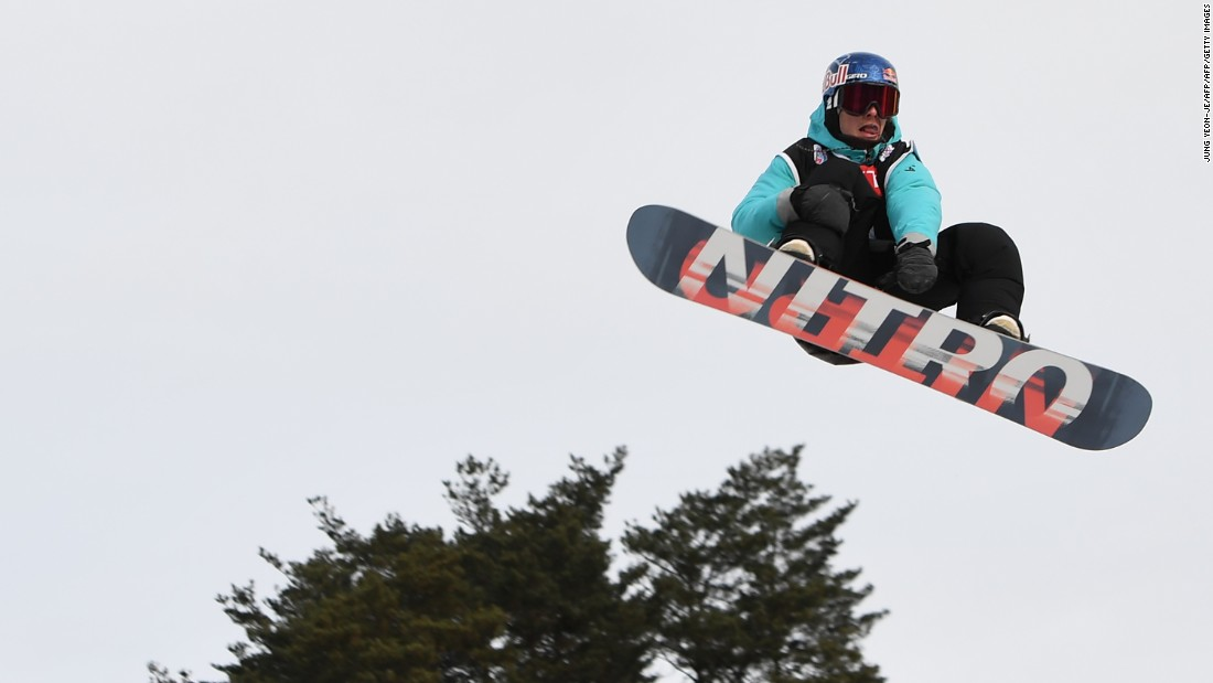 Sebastien Toutant, of Canada, flies through the air during a training session in Pyeongchang, east of the South Korean capital, Seoul.