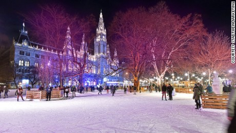 Christmas on ice: A huge skating rink is part of the attraction of Vienna's Christmas Market.
