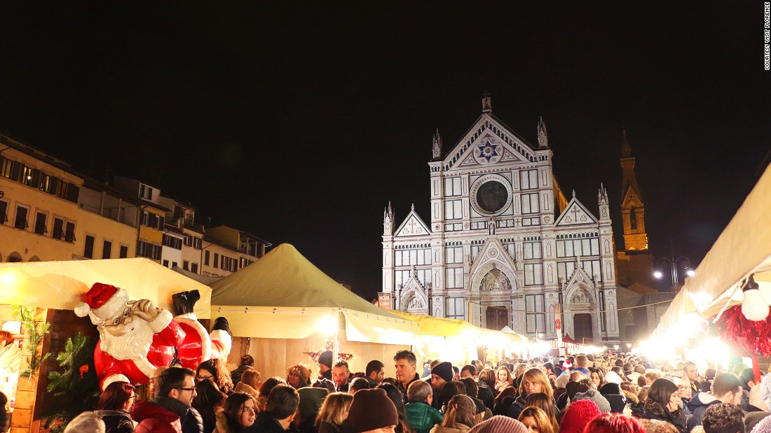 The Christmas market in Florence's spectacular Piazza Santa Croce is a great place to pick up presents as well as both Italian and German treats.