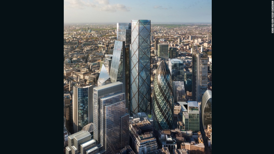 "It will rise above the neighboring skyscrapers in London's financial center: more than 280 feet taller than the triangle-shaped ""Cheesegrater"" (left) and dome-shaped ""Gherkin"" (right)."