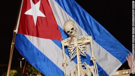 MIAMI, FL - NOVEMBER 26:   Miami residents celebrate the death of Fidel Castro on November 26, 2016 in Miami, Florida. Cuba's current President and younger brother of Fidel, Raul Castro, announced in a brief TV appearance that Fidel Castro had died at 22:29 hours on November 25 aged 90.  (Photo by Gustavo Caballero/Getty Images)
