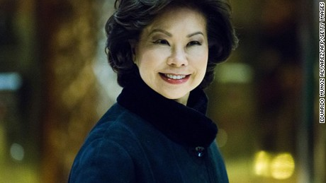 Elaine Chao arrives at Trump Tower on November 21, 2016 in New York.