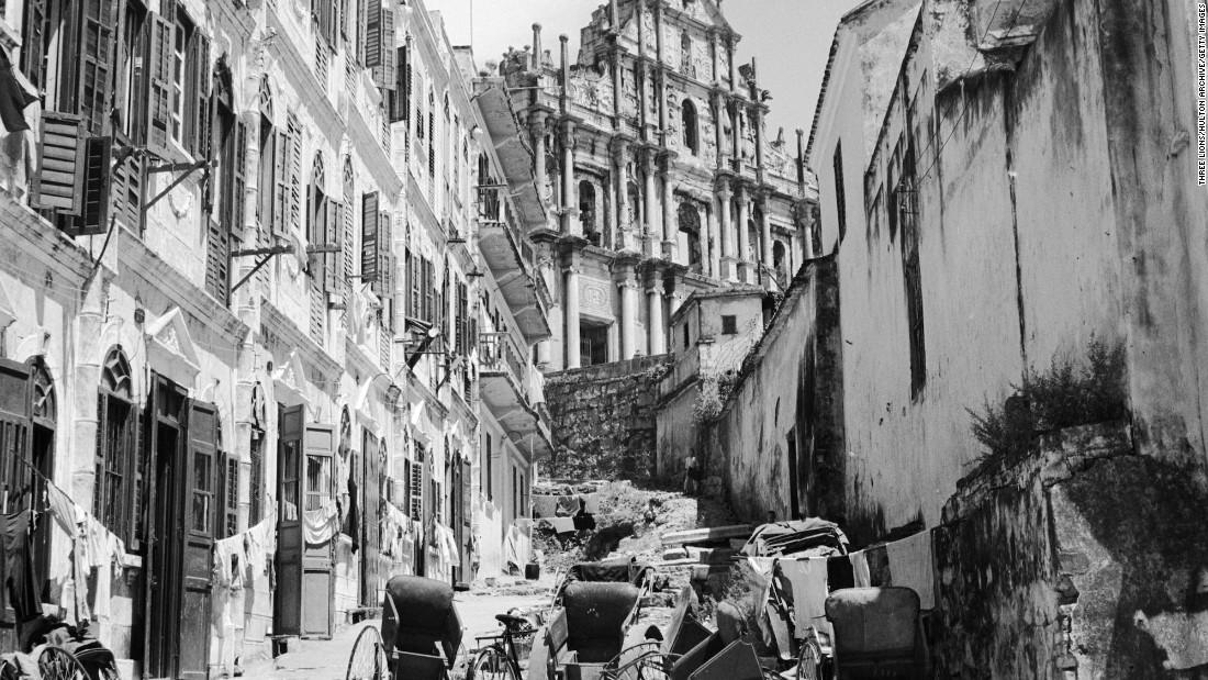 Rickshaws in a street in the old quarter of Macau.