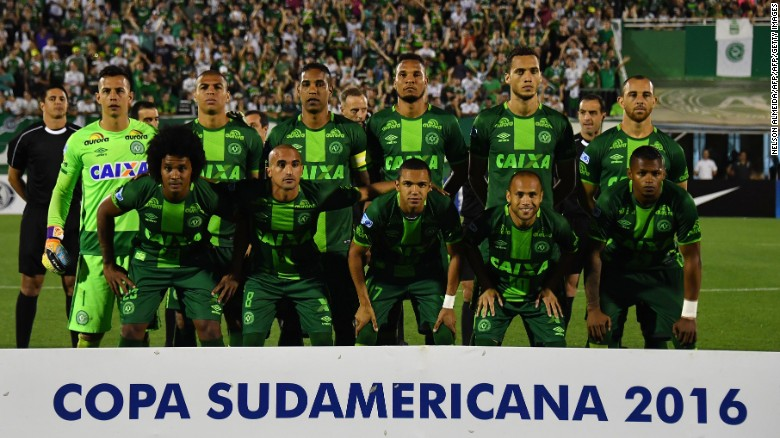 Chapecoense players pose for pictures during their 2016 Copa Sudamericana semifinal last week.