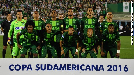 Brazil's Chapecoense players pose for pictures during their 2016 Copa Sudamericana semifinal second leg football match against Argentina's San Lorenzo  held at Arena Conda stadium, in Chapeco, Brazil, on November 23, 2016. / AFP PHOTO / NELSON ALMEIDANELSON ALMEIDA/AFP/Getty Images