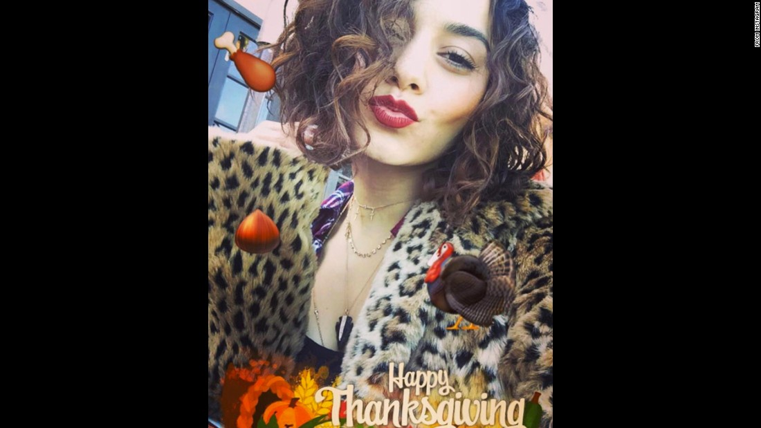 """Happy Thanksgiving, lovers,"" <a href=""https://www.instagram.com/p/BNNUF2jBbaT/"" target=""_blank"">actress Vanessa Hudgens said on Instagram</a> on Thursday, November 24. ""So grateful to have such wonderful people in my life. I owe so much to my family, friends and fans. Hope you have a day full of gratitude, love and laughs."""
