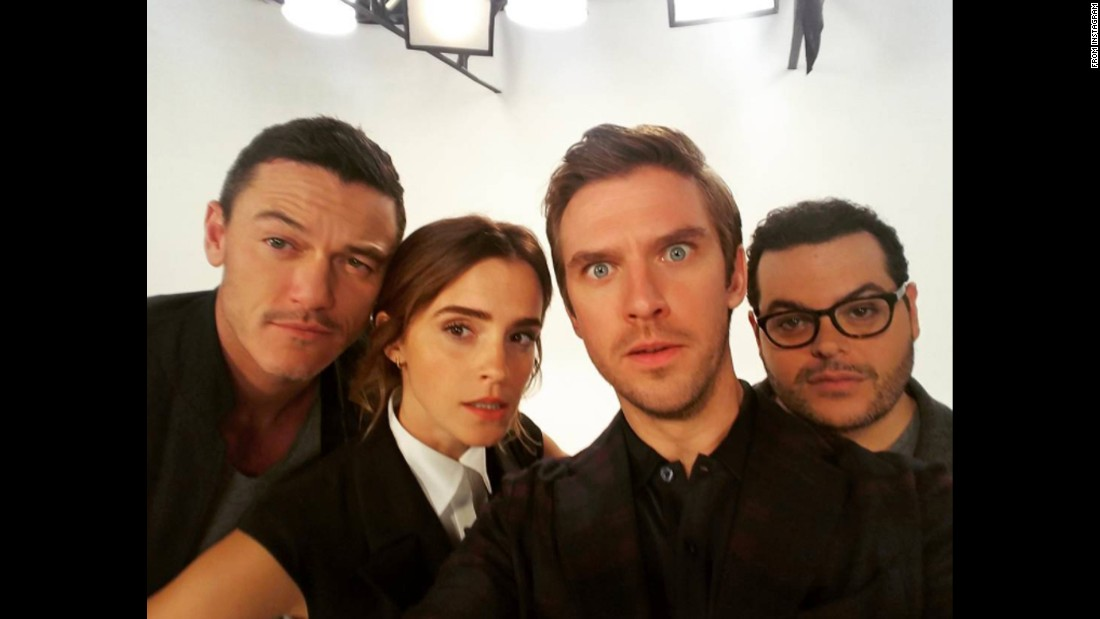 "Actors starring in the upcoming remake of ""Beauty and the Beast"" take a selfie together on Tuesday, November 15. From left are Luke Evans, Emma Watson, Dan Stevens and Josh Gad. Stevens captioned it <a href=""https://www.instagram.com/p/BM1v2GLB-48/"" target=""_blank"">#TeamBeast </a>on Instagram."