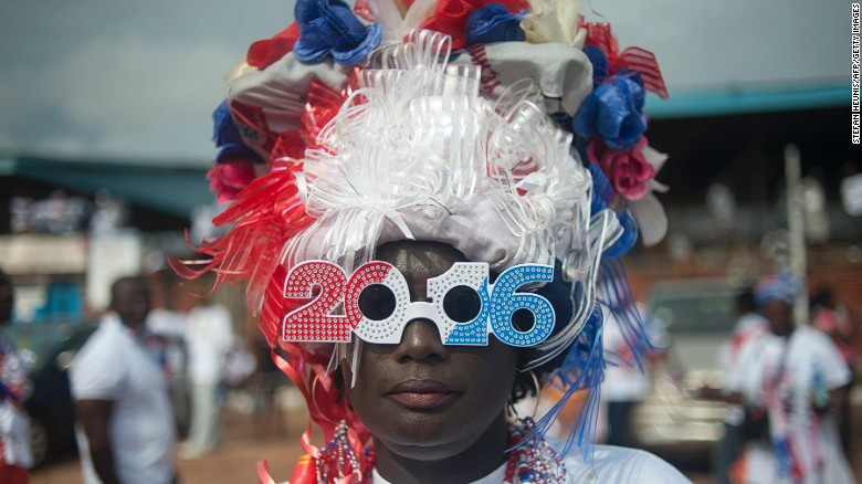Ghanaians will cast their votes on 7 December to decide who should lead their country for the next four years. Using technology, millennials are tracking election fraud to weed out corruption. <br /><br />Pictured here: a supporter of Ghana's largest opposition party New Patriotic Party (NPP) is seen at the party manifesto launch in Accra on October 9, 2016.