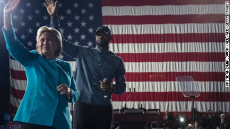 LeBron James is pictured with Hillary Clinton.