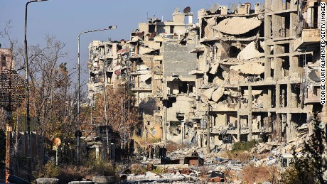 Aleppo's Bustan al-Basha neighbourhood in ruins on Monday during the regime assault.