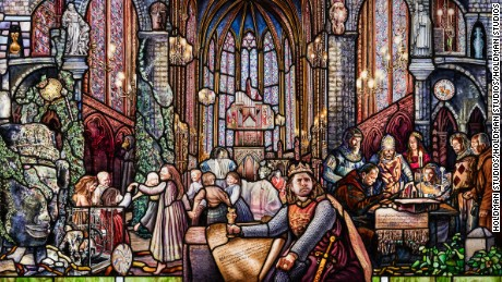 Medieval art, architecture and history feature throughout the stained glass windows