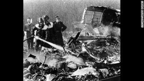 The scene of the crash of Sabena Flight 548. The Boeing 707 aircraft crashed en route to Brussels, Belgium, from New York City, killing 72 people -- including the entire United States Figure Skating team.