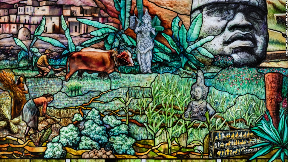 """Roots of Knowledge"" is an eighty-panel stained glass installation created by stained glass artist Tom Holdman."
