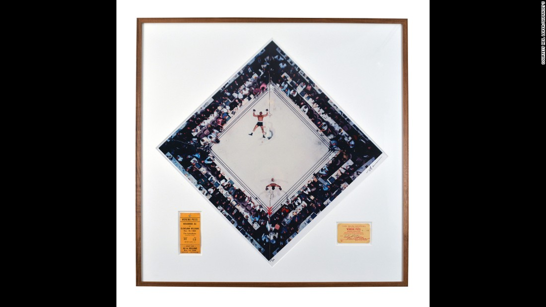 "This memorable photo, taken by acclaimed sports photographer Neil Leifer, shows Muhammad Ali raising his arms after knocking out Cleveland ""Big Cat"" Williams in 1966. It is framed with Leifer's press pass from the fight. Leifer's personal collection, which also includes images from other great photographers, <a href=""https://www.guernseys.com/v2/leifer.html"" target=""_blank"">will be on auction</a> December 2-3 in New York. ""This is my favorite photograph,"" Leifer told CNN's Lawrence Crook III. ""It's the only picture I've taken ever in my life that, when I look at it even 50 years later ... there isn't a single thing I would change."""