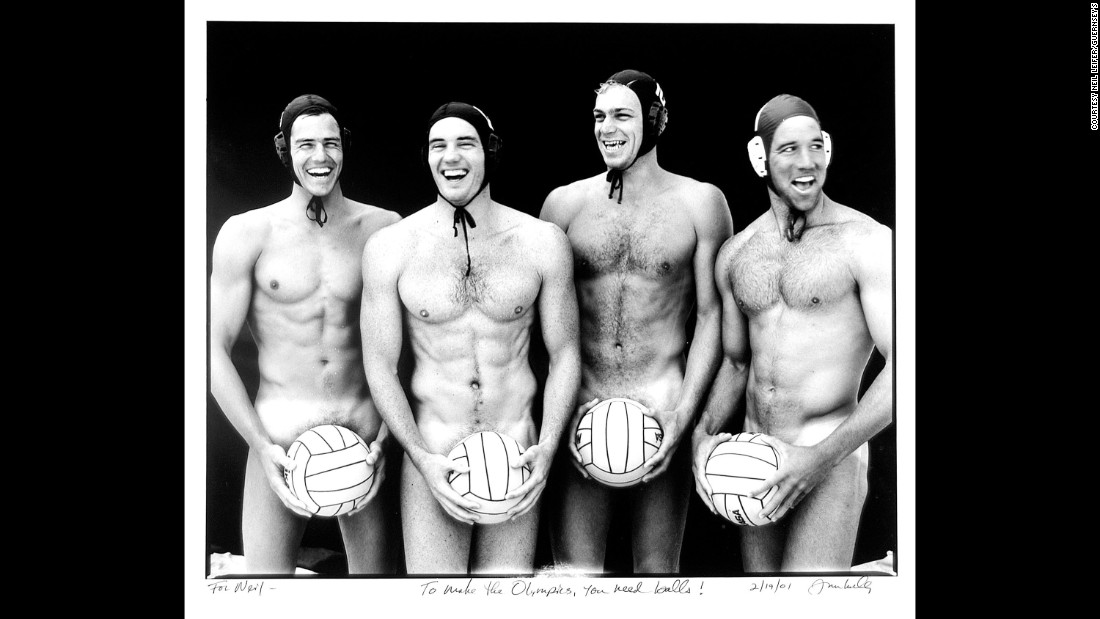 "Four players from the USA's water polo team were photographed nude by Joe McNally in 1996. McNally signed the photo for Leifer along with the caption, ""To make the Olympics, you need balls!"""