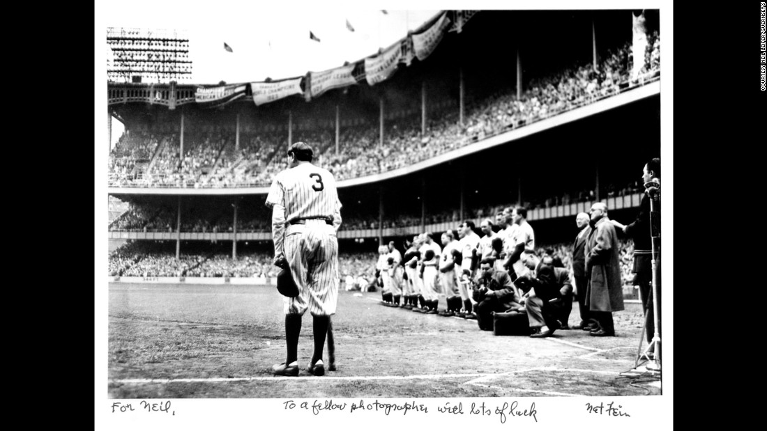 Nat Fein won a Pulitzer Prize for this image of baseball legend Babe Ruth visiting Yankee Stadium for the last time in 1948.