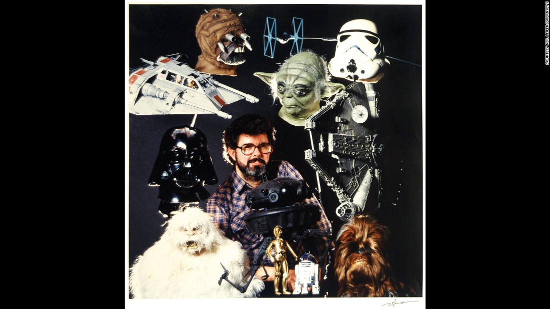 "Director George Lucas is surrounded by ""Star Wars"" masks and props in this Leifer shot from 1980. ""That was supposed to be the cover of Time magazine, but it ran inside,"" Leifer said. ""They did a cover story on Lucas and the 'Star Wars' films."""