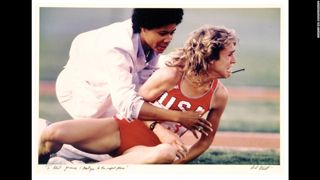 "US athlete Mary Decker is distraught after falling during a race in the 1984 Olympics. Photographer David Burnett dedicated this print to Leifer with the inscription, ""To Neil -- For once I beat you to the right place!"""