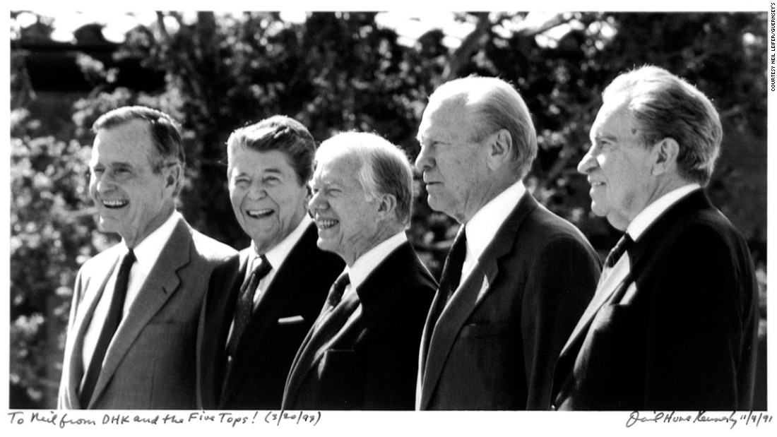 Five US presidents are seen at the opening of the Ronald Reagan Presidential Library in 1991. From left are US Presidents George H.W. Bush, Ronald Reagan, Jimmy Carter, Gerald Ford and Richard Nixon. The photo was taken by David Hume Kennerly.