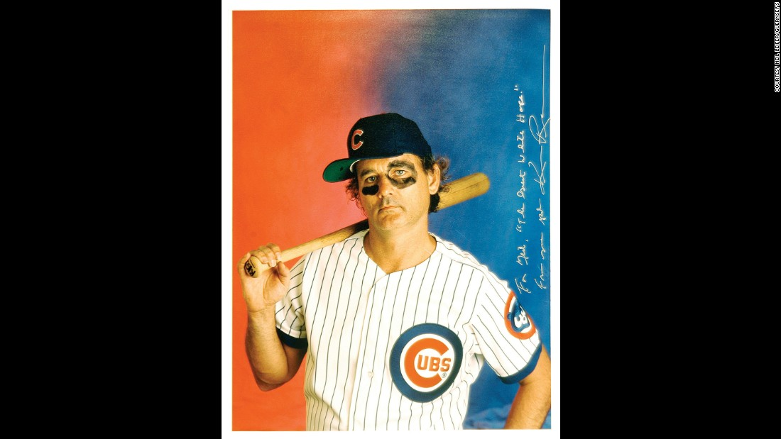 "Actor Bill Murray wears a Chicago Cubs uniform in this Ken Regan photo from 1996. Regan's inscription is a reference to Leifer's short film ""The Great White Hype."""