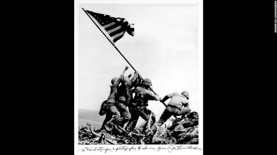 "<a href=""http://www.cnn.com/2015/02/22/world/cnnphotos-iwo-jima/index.html"">Joe Rosenthal's 1945 photograph</a> of US troops raising a flag in Iwo Jima remains one of the most widely reproduced images. It earned him a Pulitzer Prize."