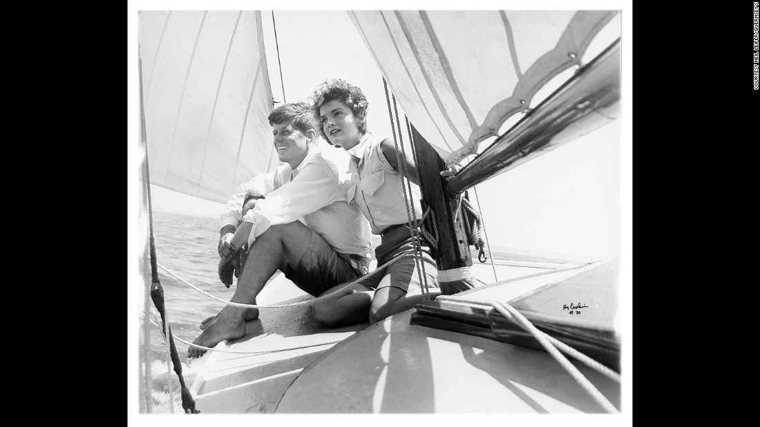 "John F. Kennedy, then a US senator from Massachusetts, sails with his fiancee, Jackie, in this Hy Peskin photo that was on the cover of Life magazine in 1953. They were married later that year. ""That's a very famous photo,"" Leifer said. ""I was a big Peskin fan and I had a good relationship with him. I really wanted this in my collection."""