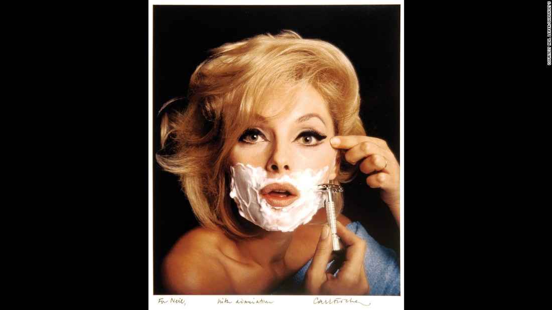 Actress Virna Lisi pretends to shave in this Carl Fischer photo from 1966. It was used as a cover to Esquire magazine.