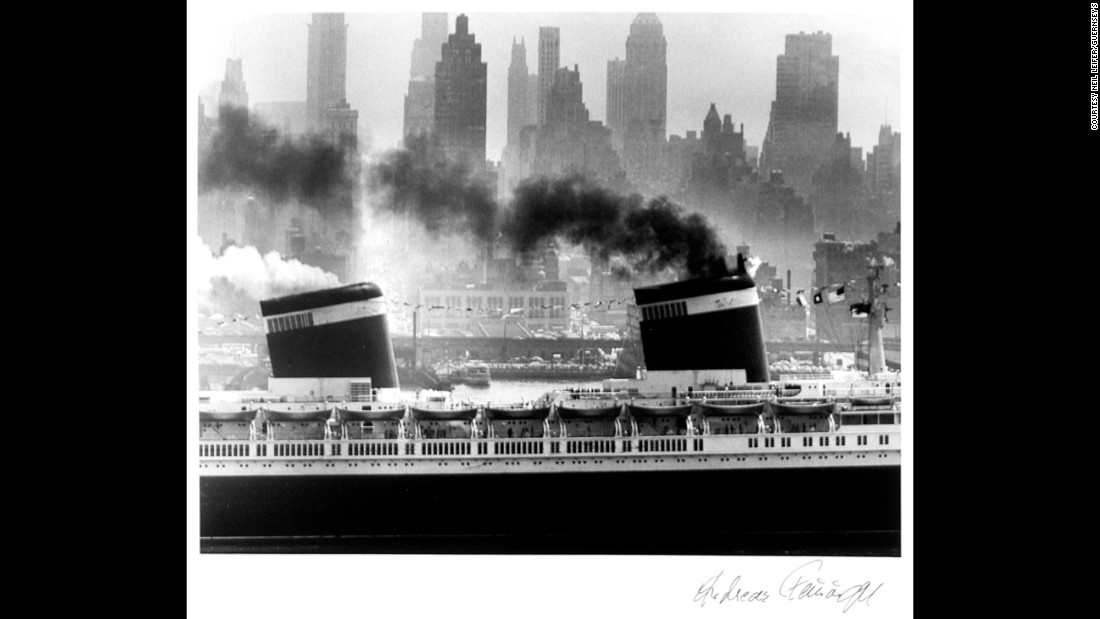 The SS United States was photographed in New York Harbor by Andreas Feininger in 1952.