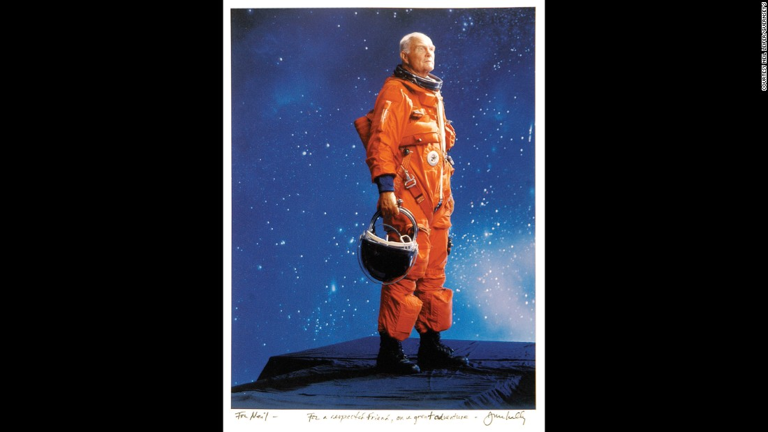 Joe McNally took this photo of former astronaut John Glenn in 1998. Glenn was the first American to orbit Earth.