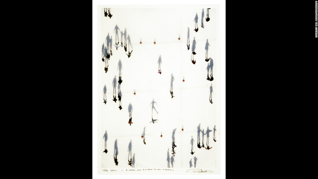 Vincent Laforet took this aerial shot of ice skaters in 2004.
