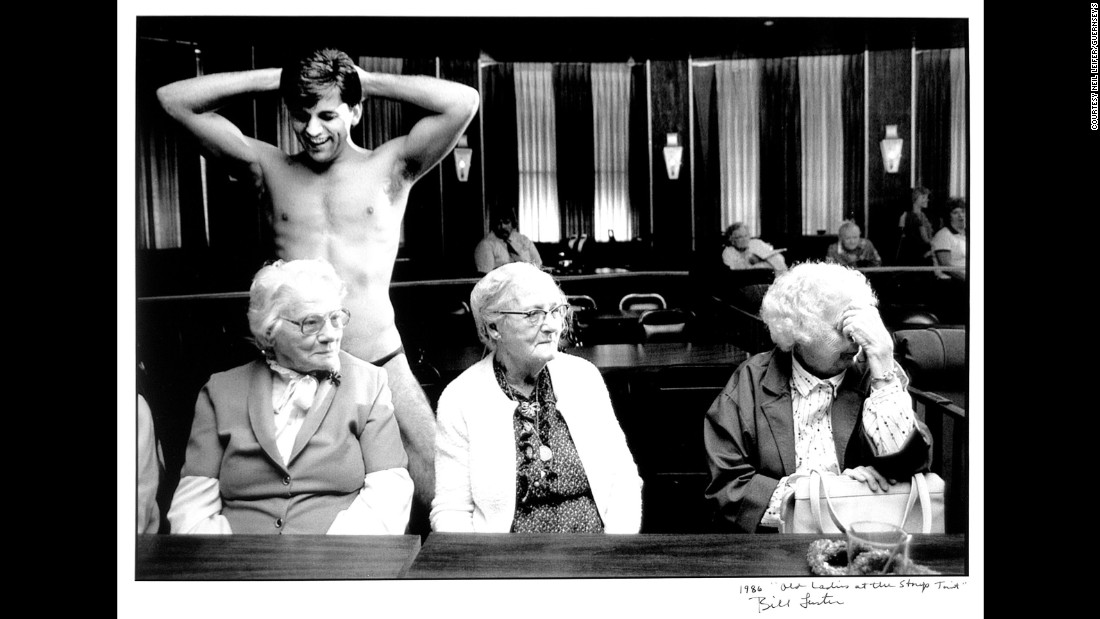 Bill Luster took this photo of a stripper with three older women in 1986.