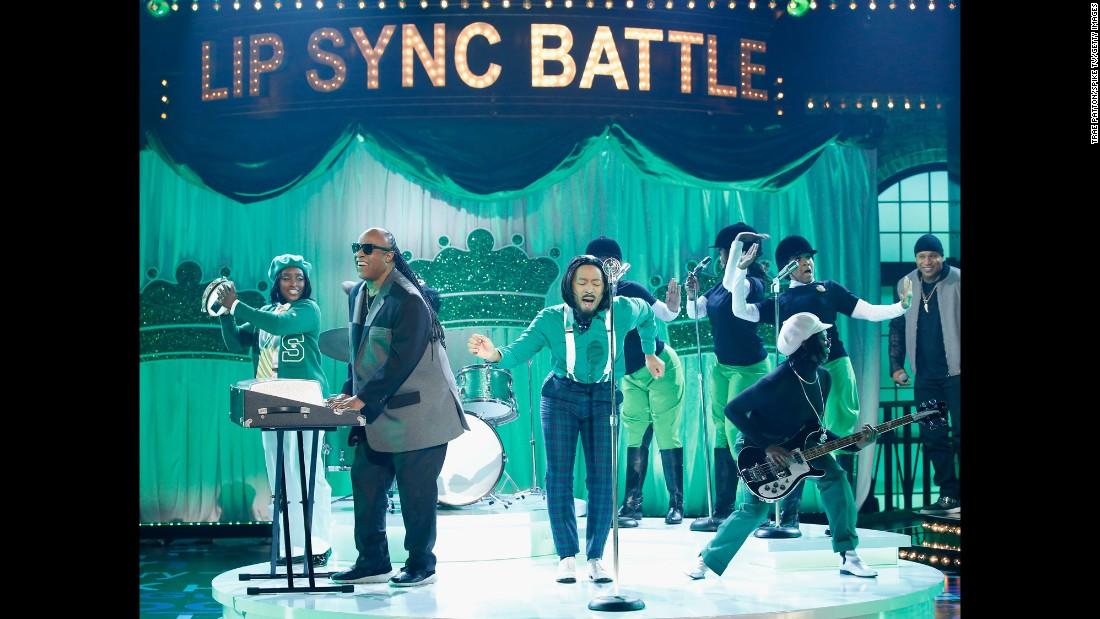 """Stevie Wonder, left, and John Legend, center, perform during Spike TV's """"Lip Sync Battle: All-Stars Live"""" on Sunday, September 11."""