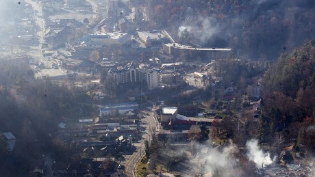 Gatlinburg fire before shot for use in interactive slider