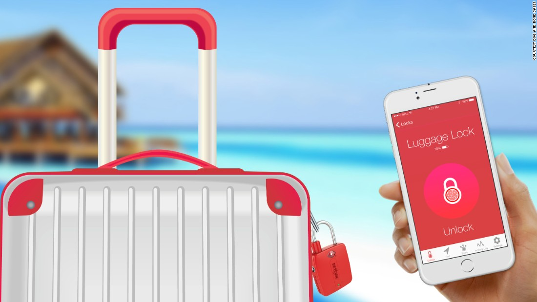 Safeguarding checked luggage with this lock is simple, so why not have the Locksmart keyless Bluetooth padlock double as a suitcase tracker? An app makes that possible.