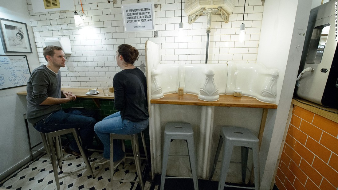 Attendant seamlessly blends the original 1860s urinals with all the trappings of a modern-day cafe.