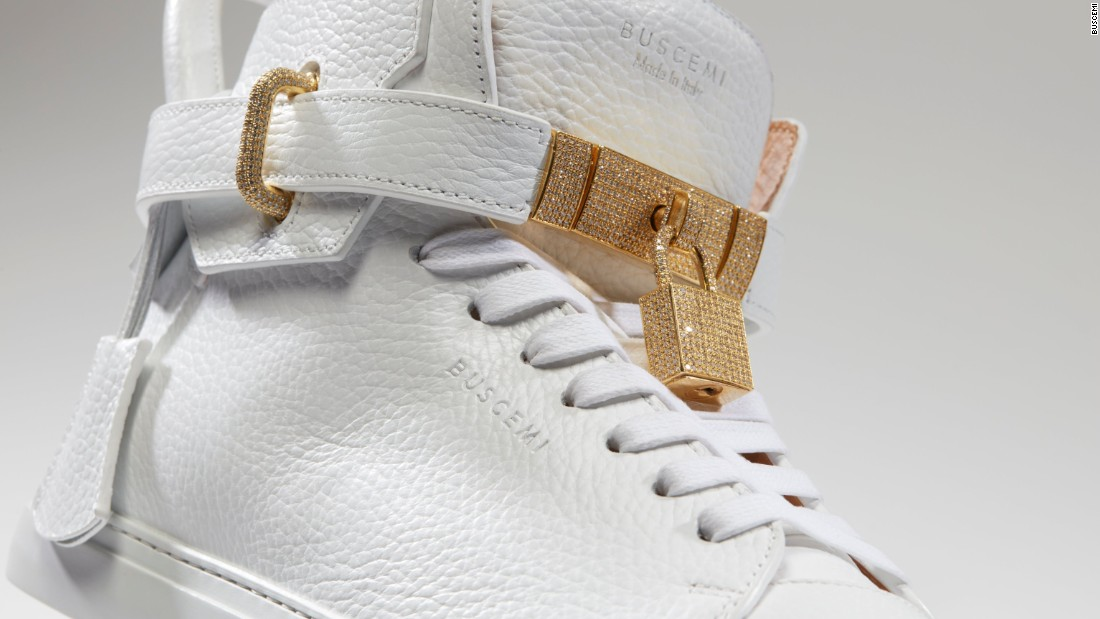 In September, upscale sneaker brand Buscemi released a one-of-a-kind pair of diamond-encrusted white sneakers that retails for $132,000.