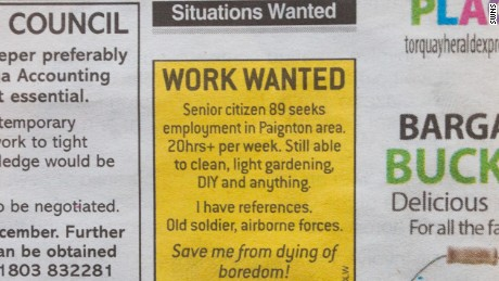 Joe Bartley's job advertisement in the Herald Express newspaper.