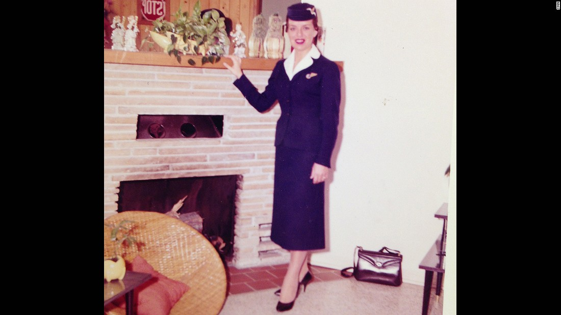 Bette Nash, pictured here in 1958 in her Eastern Airlines uniform, has served as a flight attendant for nearly six decades.