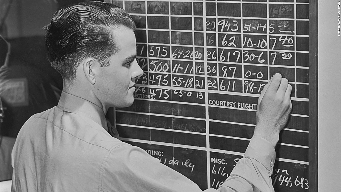 When Nash first began flying in the '50s, all flight schedules were chalked up on a blackboard, and manuals and regulations came in book form. Pictured: An archive image of incoming and outgoing flights being chalked up circa 1945. <br />