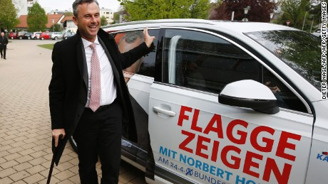 Far-right candidate Norbert Hofer has carried a walking stick since a paragliding accident in 2003.