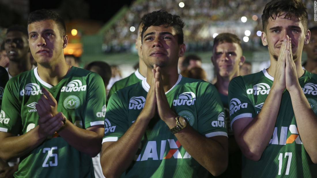 Players from the Brazilian soccer team Chapecoense mourn their fallen teammates during a tribute at the team's stadium in Chapeco, Brazil, on Wednesday, November 30. A charter airplane carrying 77 people, including most players from Chapecoense, crashed near Rionegro, Colombia, on Monday, November 28. Seventy-one people were killed, officials said. Six survived: three players, two crew members and one journalist.