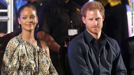 Rihanna and Prince Harry attend a concert on November 30 in  Bridgetown, Barbados.