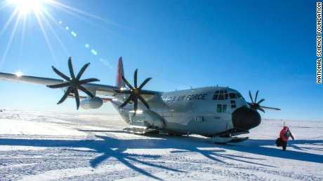 A ski-equipped LC-130 aircraft at NSF's Amundsen-Scott South Pole Station.