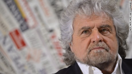Five Stars movement's leader Beppe Grillo attends a press conference on December 18, 2014 in Rome.  AFP PHOTO / ANDREAS SOLARO        (Photo credit should read ANDREAS SOLARO,ANDREAS SOLARO/AFP/Getty Images)
