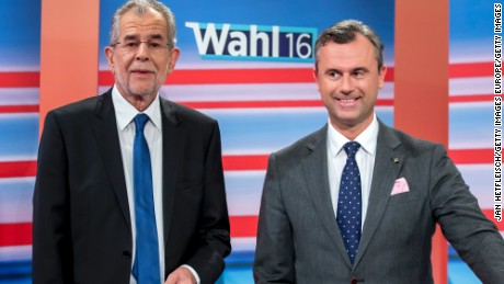 Alexander Van der Bellen, left, and Norbert Hofer, here in May, compete once again for the presidency.