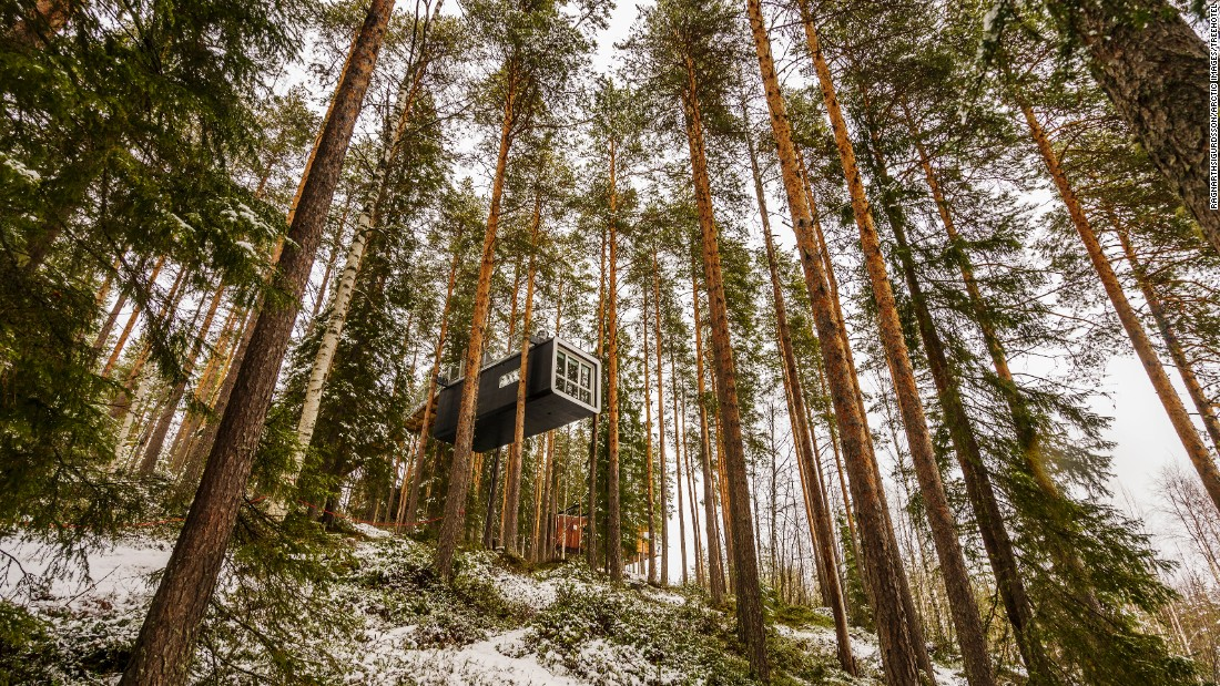 """The Cabin"", a prefabricated tree house in northern Sweden, is so high up in the trees that it overlooks the entire Lule River valley."