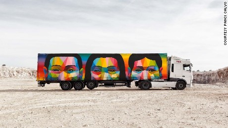 Spanish street artist Okuda San Miguel was the first artist to take part in the Truck Art Project back in 2015.