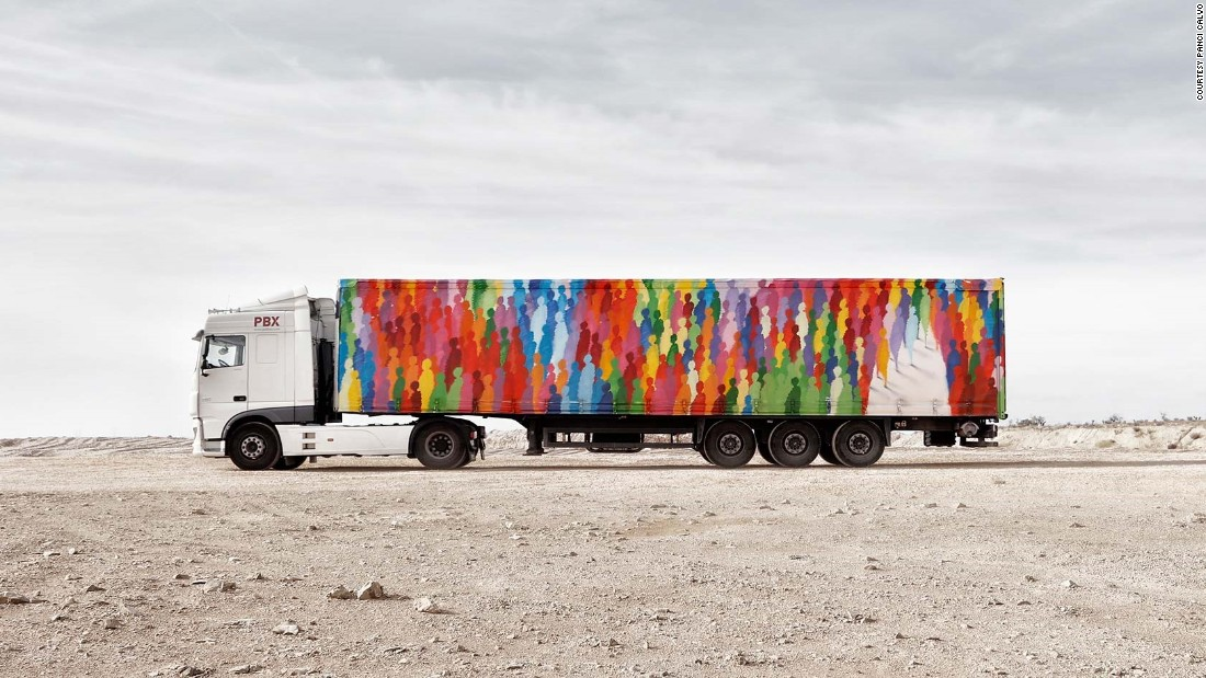 "Suso33 is one of Spain's most established urban artists. The work for his truck is entitled ""Sky's the Limit."""