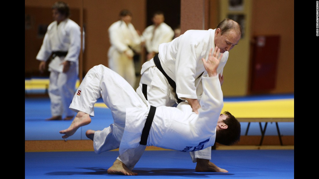 <strong>January 8:</strong> Russian President Vladimir Putin, top, trains with his country's judo team in Sochi, Russia.